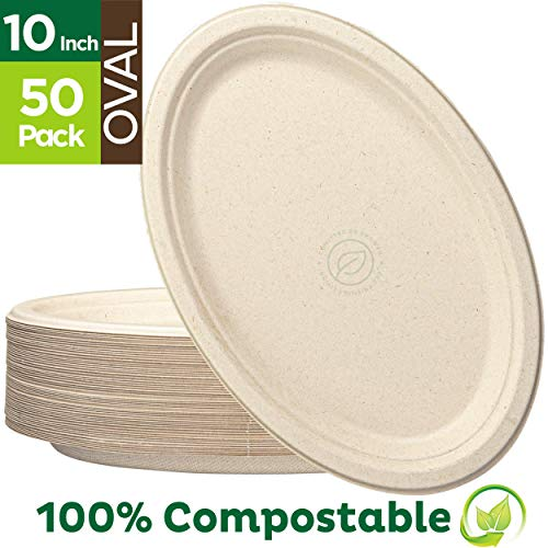 """100% Compostable Oval Paper Plates [10 inch - 50-Pack] Elegant Disposable Dinner Platter Heavy-Duty Quality, Natural Bagasse Unbleached Eco-Friendly Made of Sugar Cane Fibers, [10"""" x 7.5"""" Platter]"""