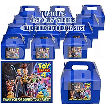 Toy Story 4 Movie Party Favor Boxes with Thank You Decals Stickers Loots Blue Birthday 12 Pieces Great Seller Forky Duke Caboom Bunny Ducky Woody Buzz Lightyear Bonnie Bo Peep: Toys & Games