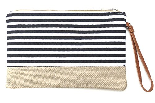 corona-collection-black-and-white-stripe-zip-wristlet-with-jute