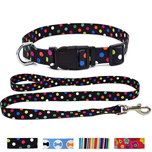 WarmHeaven Cute Dog Collar Leash Set Durable Nylon Adorable Pet Collar for Medium Puppy Breed Boy Girl Adjustable Neck:12.6-18.9