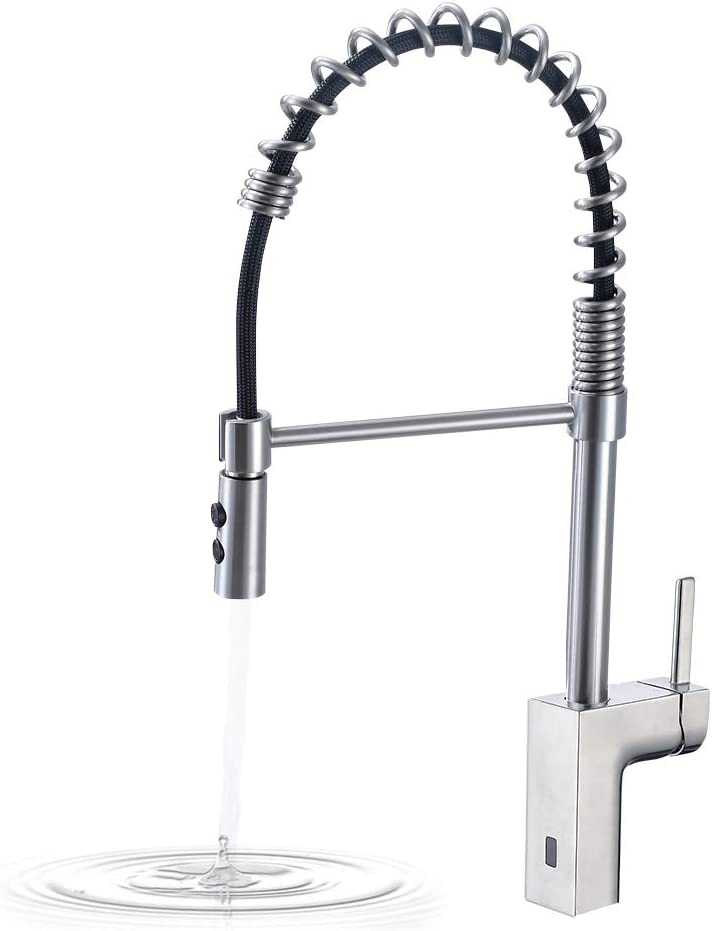 Badijum Touchless Kitchen Faucet High Arc Single Handle One-Hole with  Pull-Out Head, Kitchen Faucets Brushed Nickel, Modern Design Faucets