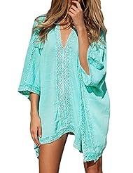 Dear-Lover? Women's Kimono Crochet Poncho Beachwear One Size Green