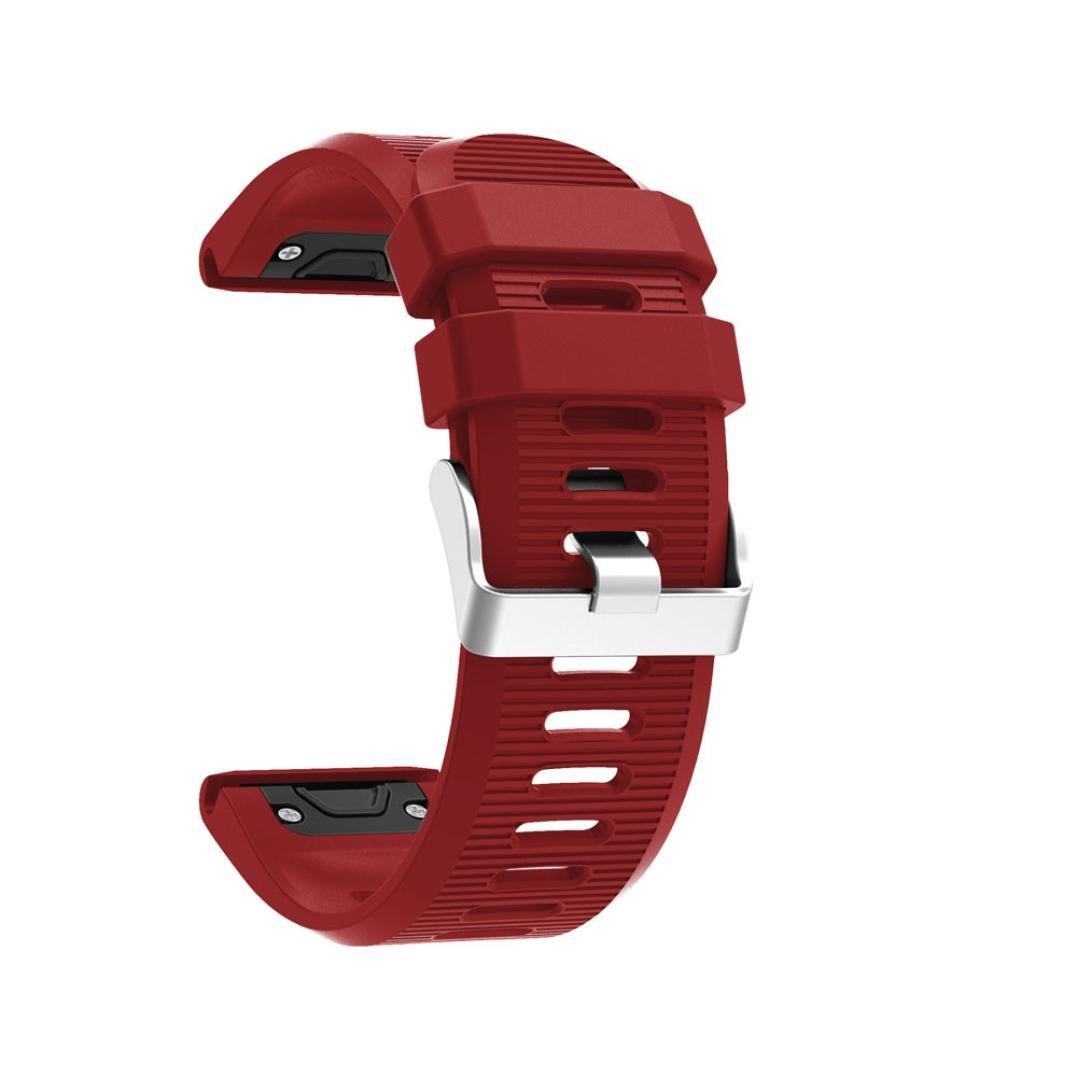 zty66ソフトクイックリリースシリカゲル時計バンドの交換( Transverseパターン) withピンバックルfor Garmin Fenix 5 x GPS Watch レッド レッド B074125T8B
