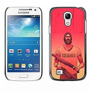 GOODTHINGS (NO PARA S4) Funda Imagen Diseño Carcasa Tapa Trasera Negro Cover Skin Case para Samsung Galaxy S4 Mini i9190 - Yolo pistolas rosas rojas armas barba amarillas
