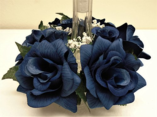 2 Candle Rings DARK BLUE Roses Center Pieces Artificial Velvet Flowers 3' 616DBL