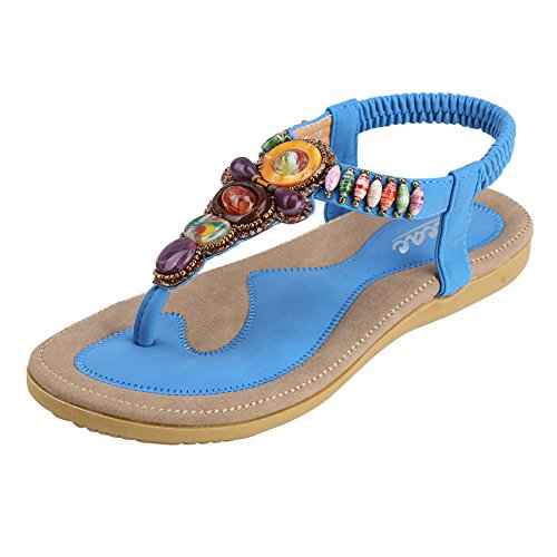 (Zicac Women's Bohemian Thong Sandal Elastic Back Strap Clip Toe Flats Sandals with Beads(8, Blue))