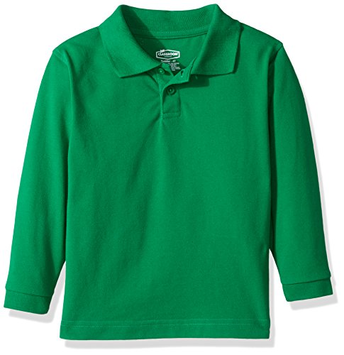 (Classroom School Uniforms Kids' Toddler Preschool Unisex Long Sleeve Pique Polo, sos Kelly Green, 3T)