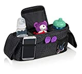 Universal Stroller Organizer with deep Cup Holders and Shoulder Strap, Extra Large Storage Spaces for Phones, Wallets and Baby Accessories, Perfect for All Parents