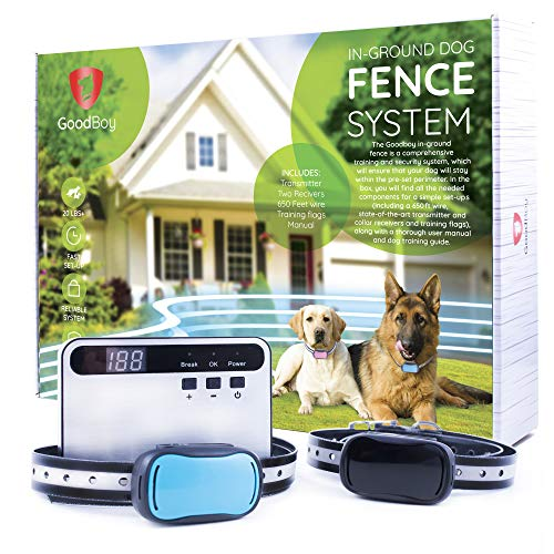 GoodBoy Invisible Electric Fence for Dogs - Underground Pet Perimeter System with 2 Collars and 650ft Wire