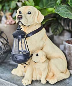 LIUSHI Entryway Welcome Dog Statues with Light Solar LED,Outdoor Dog Family Sculptures with Lamp for Garden Yard Patio Porch Deck