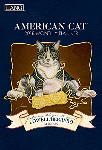 """LANG - 2018 Monthly Planner - """"American Cat"""" , Artwork By Lowell Herrero - 13-Month: January 2018 - January 2019 - 8.5"""" x 12"""""""