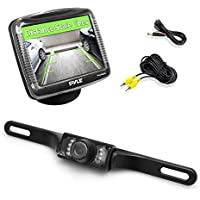 Pyle Backup Rear View Car Camera Monitor Screen System Kit - Parking & Reverse Safety Distance Scale Lines, Waterproof, Night Vision, IR LED Lights, 3.5 LCD Video Color Display for Vehicles-PLCM36