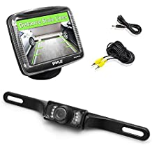 "Pyle Backup Rear View Car Camera Monitor Screen System Kit - Parking & Reverse Safety Distance Scale Lines, Waterproof, Night Vision, IR LED Lights, 3.5"" LCD Video Color Display for Vehicles - PLCM36"
