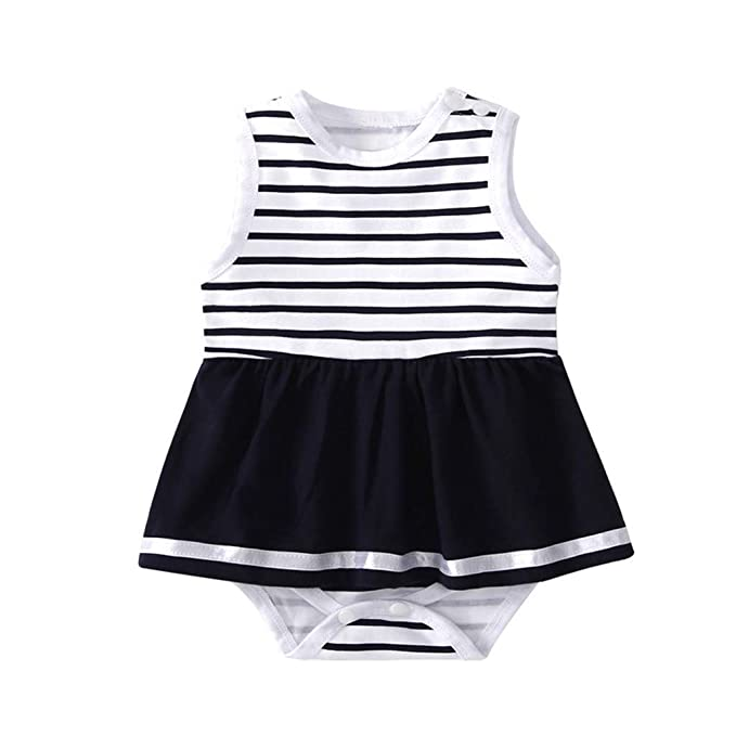 Newborn Baby Girls Sleeveless Romper Jumpsuit Playsuit White Outfits Clothes Set