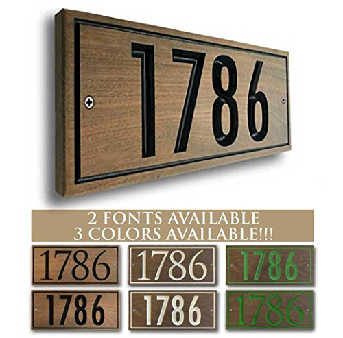 Personalized Hardwood Address plaque. Three colors and two fonts available! Custom house number sign.