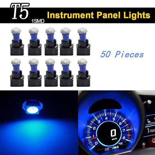 Keyecu 50 Pieces Blue 12V PC74 T5 1SMD 5050 LED Car Motorcycle Instrument Panel Cluster Gauge Dash Light Speedometer Odometer Tachometer Lamp (50, Blue)