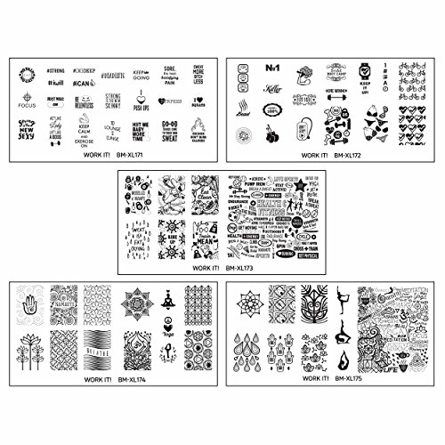 BMC Cute 5pc Work It! Sports Themed Nail Polish Art Stamping Stainless Steel XL Plates Set 1 : Gym Junkie