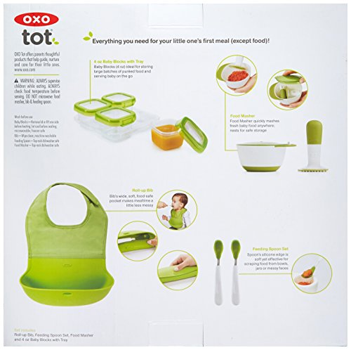 OXO Tot Mealtime Starter Value Set with Roll-up Bib, Feeding Spoons, Food Masher and Four 4oz Baby Blocks Freezer Storage Containers by OXO Tot (Image #1)
