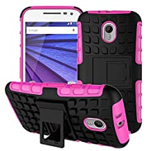 Moto G 3rd Generation Case,YiLin [Kickstand] Hot Pink Armor Case [Shock-Absorption] Dual Layer Defender Protective Case Cover for Motorola Moto G3 (3rd Gen, 2015), Hot Pink
