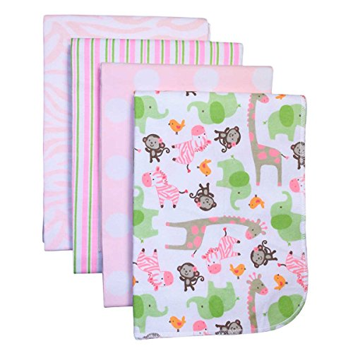 Pink Flannel Receiving Baby Blanket (Carter's 4-Pack Cotton Flannel Receiving Blankets, Pink Zebra Safari)