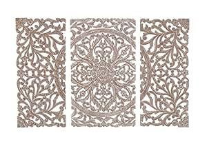 Ka hale deco cabecero de cama panel mural mandala 3 partes blanco lavado 120 x 1 8 x 80 - Cabecero mandala ...