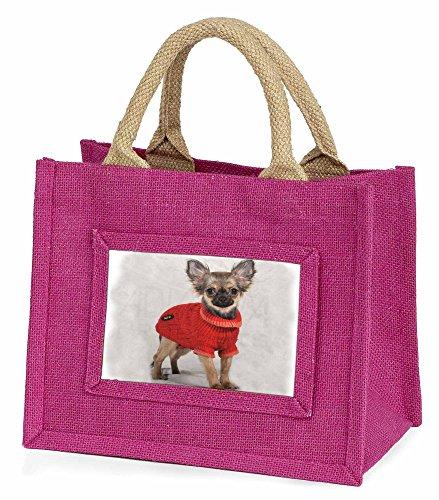 Advanta–Mini Pink Jute Tasche Chihuahua in Little Girls kleinen Einkaufstasche Weihnachten Geschenk, Jute, pink, 25,5x 21x 2cm
