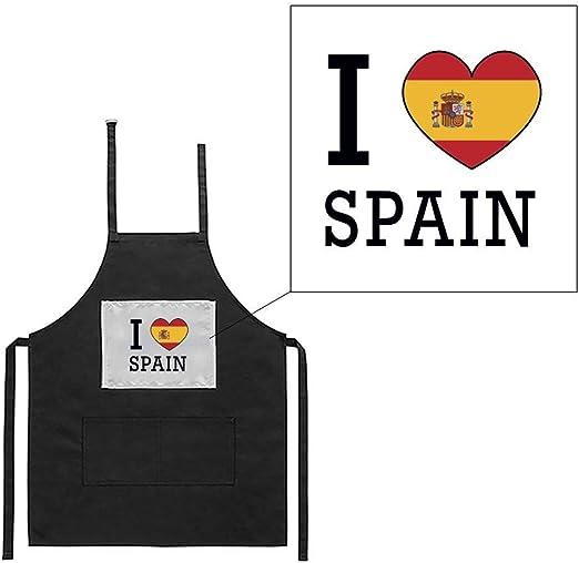 Mygoodprice Delantal Negro de Cocina Barbacoa I Love Bandera ...