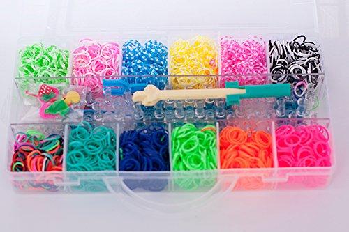 Loom Bands Loom Bandz Bänder Kit ca. 3200 Stk. bunte Gummibänder Set Webhaken Webwerkzeug selber basteln TOP NEU