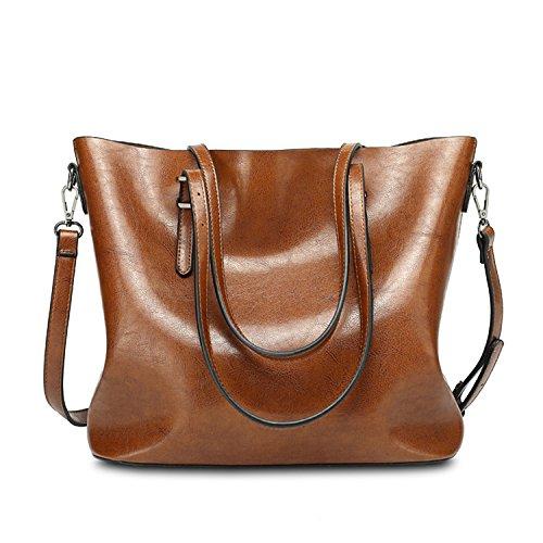 Borse delle per cross Bags del pelle ragazze Brown SIFINI da le di tracolla in Borse Borse grande Bag messaggero a donna signore body Shopping capacità Tote Borse Borse 7E4Bw