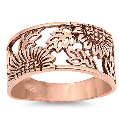 Prime Jewelry Collection Sterling Silver Women's Filigree Flower Leaf Daisy Rose Gold-Tone Sunflower Ring (Sizes 5-10) (Ring Size 6)