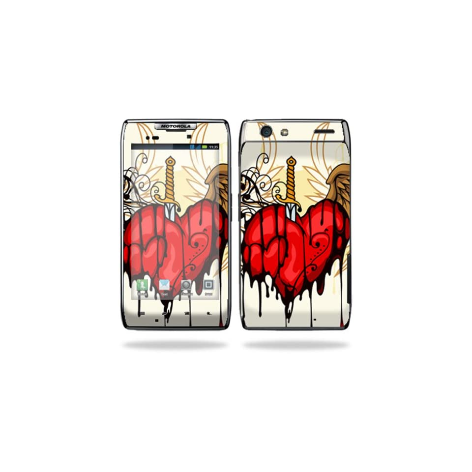 Protective Vinyl Skin Decal Cover for Motorola Droid Razr Maxx Android Smart Cell Phone Sticker Skins   Stabbing Heart