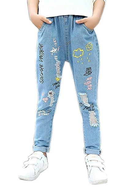 fe64837263de7 Sitmptol Kids Girls Loose Jeans Denim Ripped Graffiti Printed Light Blue  Pants Jeggings Blue 110