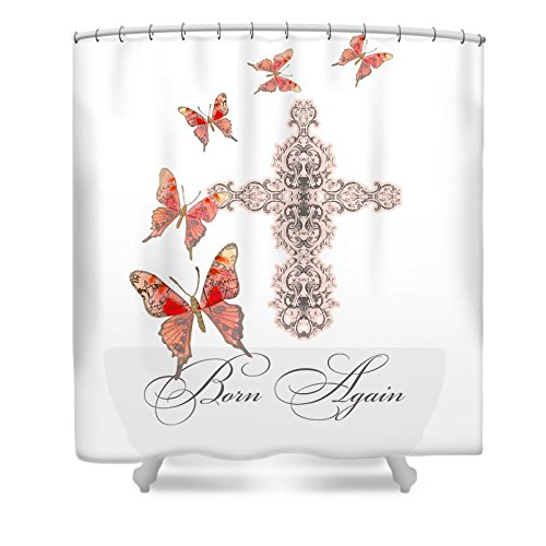 Pixels Shower Curtain (74'' x 71'') ''Cross Born Again Christian Inspirational Butterfly Butterflies'' by Pixels