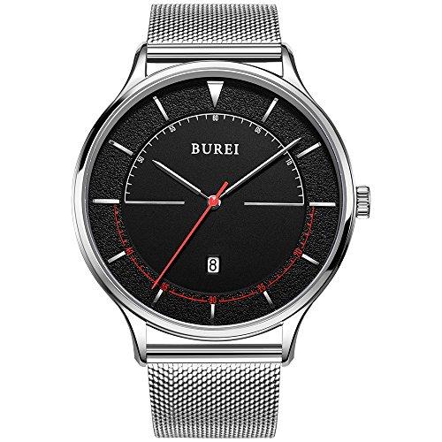 BUREI Unisex Quartz Slim Minimalist Designer Watches with Large Black Face Date Mineral Crystal Milanese Mesh Strap (Date Watch Large)