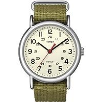 Timex de los hombres Weekender Reloj de lona Correa Analógico, Weekender Reloj de pulsera deslizable con correa de nailon, Unitalla, Verde oliva