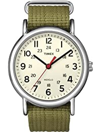 Timex Unisex T2N651 Weekender Watch with  Olive Nylon Strap