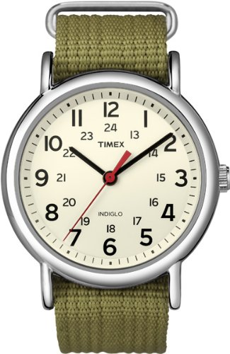 Timex Unisex T2N651 Weekender Olive Nylon Slip-Thru Strap Watch - Watches Timex Women