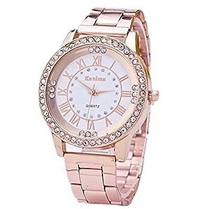 Womens Rhinestone Quartz Watches, Ladies Waterproof Fashionable High Hardness Glass Mirror Men and Women General Mesh…