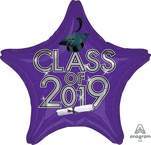 Graduation Class of 2019 Star Purple Colored 18'' Mylar Balloon Grad Cap Congrats Diploma
