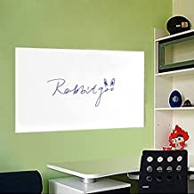 Rabbitgoo Self-Adhesive Wall Sticker Wall Paper Whiteboard Sticker Chalkboard Contact Paper (White) 17.5 by 78.7 Inches with 1 Marker Pen for School/ Office/ Home(for Water-based Marker Pen)
