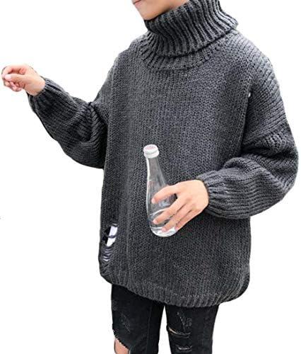 (バイバン)メンズ ニットセーター タートルネック 無地 ダメージ加工 セーター 韓国ファッション トップス 秋 冬 あったか プルオーバー 原宿系 ストリート系