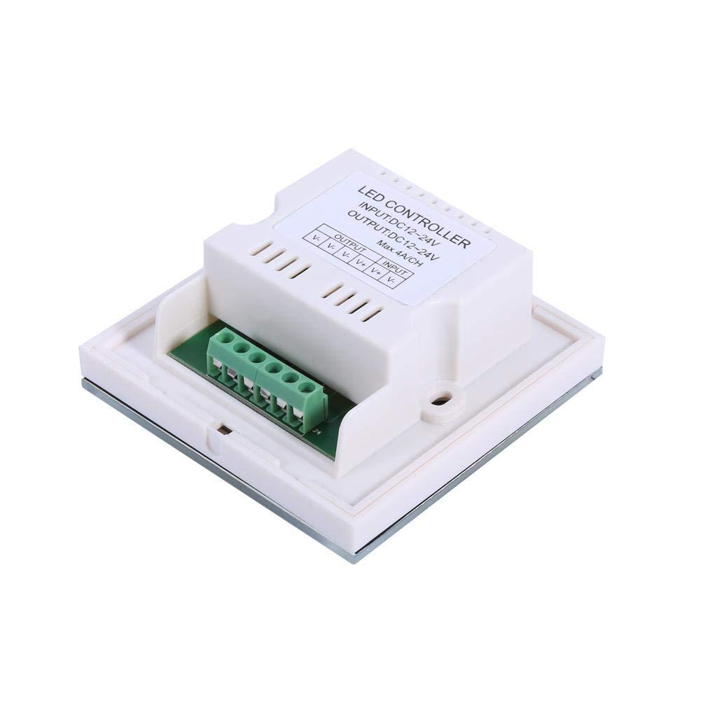 Controlador de Interruptor de Pared con atenuador de Panel t/áctil de un Solo Color Tira de luz LED DC 12V-24V Fydun Atenuador para LED Regulable Negro