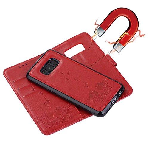 Embossing Bird Pattern PU Ledertasche mit abnehmbarem Back Cover, Flip Stand Wllet Tasche mit Lanyard & Card Slots für Samsung Galaxy S8 ( Color : Rosegold ) Red