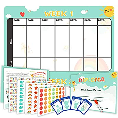 Potty Training Chart Kit - Waterproof Plastic Toilet Training Essentials for Kids, Toddlers - Activity Tracker and Reward Chart, Cute Animals