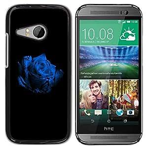 Caucho caso de Shell duro de la cubierta de accesorios de protección BY RAYDREAMMM - HTC ONE MINI 2 / M8 MINI - Rose White Blue Blossom Black Flower Nature