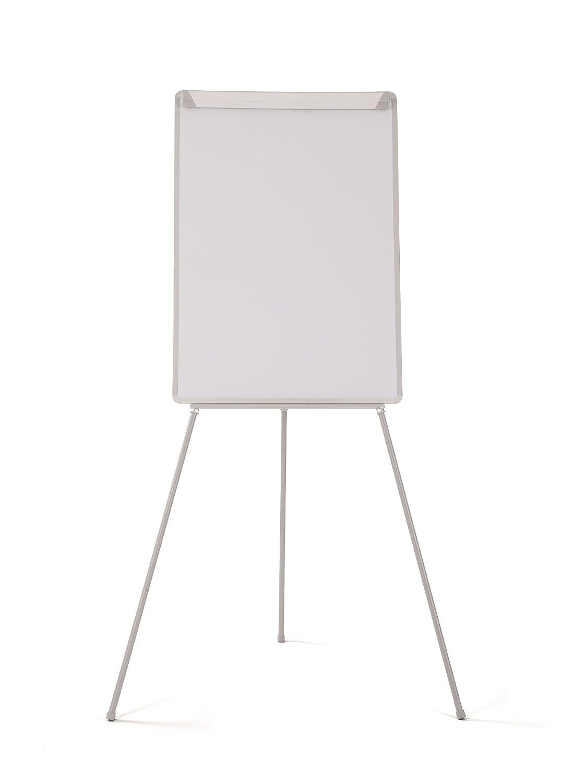 Bi-Office Pizarra Magnética con Caballete de Trípode Basic, 70 x 100 cm, Rotafolios con Marco Gris, con Bandeja y Clip Ajustable para Bloques