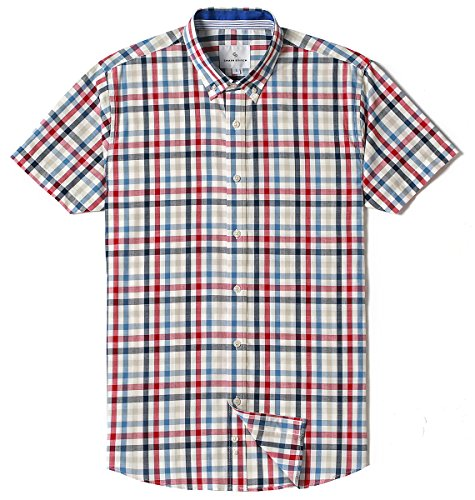 (MOCOTONO Mens Short Sleeve Check Button-Down Collar Casual Plaid Shirt Red Blue Navy Large)