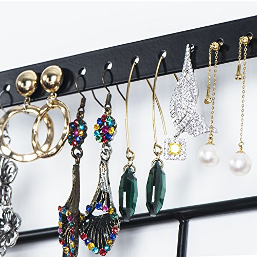 Love-KANKEI Jewelry Organizer Wall Mount - Black Metal & Rustic Wood Necklace Organizer Holder for Earrings Rings Bracelets and Necklaces by Love-KANKEI (Image #2)