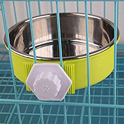 Cibeat cat Bowls, Hang-on Pet Dog Cat Bowl Food Water Dish Feeder Stainless Steel Bowl