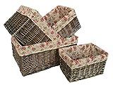 Antique Wash Garden Rose Willow Storage Baskets Set of 4